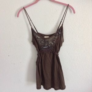 Abercrombie and Fitch brown tank embroidered